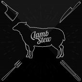 picture of beef shank  - Vector illustration of beef pork lamb and chicken vegetables image bread drinks and cooking tools - JPG