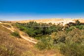 stock photo of suspension  - Suspension bridge and Besor Brook in Eshkol National Park Negev desert - JPG