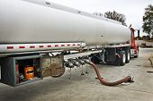 image of tank truck  - Large fuel delivery tanker filling up tanks at gas station - JPG