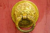image of metal sculpture  - Metal door knocker in Chinese design for interior and exterior - JPG