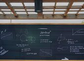 foto of mathematics  - Mathematic formulas on a blackboard outside the classroom at school - JPG