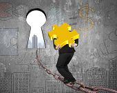foto of keyholes  - Man carrying golden jigsaw puzzle walking on old iron chain toward keyhole door with urban scene view and business concept doodles wall background - JPG