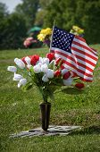 picture of cemetery  - Flowers and flag on grave in cemetery - JPG