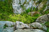 image of ravines  - Mountain landscape with deep ravine on springtime - JPG