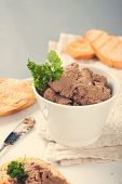 stock photo of liver  - Healthy chicken liver pate with parsley in bawl - JPG