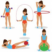 foto of hula hoop  - Set of girl doing exercises with jumping rope hula hoop exercise ball and dumbbells - JPG