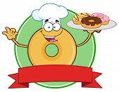 image of donut  - Donut Cartoon Character Wearing A Chef Hat And Serving Donuts Circle Label - JPG
