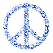 stock photo of peace-sign  - Blue Peace Sign formed by many small peace symbols - JPG