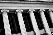 picture of neoclassical  - Columns on concrete building of bank court or finance - JPG