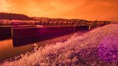 picture of dam  - Infrared Lock and Dam on a River - JPG