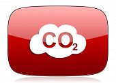 foto of carbon-dioxide  - carbon dioxide red glossy web icon  - JPG