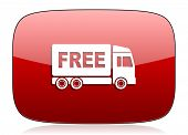 picture of free-trade  - free delivery red glossy web icon