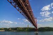 stock photo of suspension  - The 25 de Abril Bridge is a suspension bridge connecting the city of Lisbon - JPG