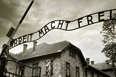 pic of auschwitz  - Entrance to the Auschwitz concentration camp - JPG