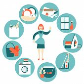 foto of cleaning house  - House work concept vector illustration - JPG