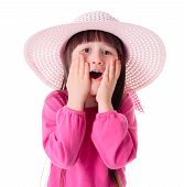 picture of wonderful  - Wondering pretty girl wearing pink sun hat - JPG
