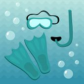 picture of flipper  - Diving set consisting of flippers mask and snorkel underwater - JPG