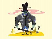 stock photo of wild west  - Wild West Sheriff Cartoon Character Concept vector illustration - JPG