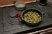picture of marrow  - green marrows with pot over the stove in the mountains - JPG