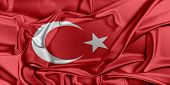 image of waving  - Flag of Turkey waving in the wind - JPG