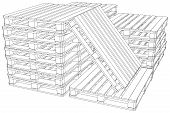picture of pallet  - Stack of pallets on isolated white background - JPG