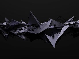 foto of pyramid shape  - Abstract 3d rendering of chaotic structure - JPG