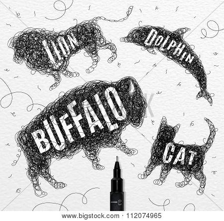Tangled Line Buffalo Black