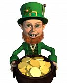 picture of st patrick  - A leprechaun finds a pot of gold  - JPG