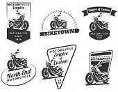 Постер, плакат: Set Of Classic Motorcycle Emblems Badges And Icons