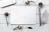 Shabby Chic, Boho Mockup For Presentations With Dry Roses. poster