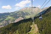 Постер, плакат: Mountains In Andorra And Cable Car