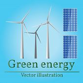 Постер, плакат: Eco Energy Green Energy Wind Energy Solar Energy Vector Eco Energy Drawing Eco Energy Graphic