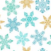 Постер, плакат: Winter Seamless Pattern With Ornamental Snowflakes