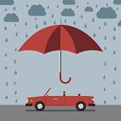 Постер, плакат: Car Umbrella And Rain