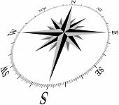 picture of compass rose  - compass illustration with direction marks in 3d perspective - JPG