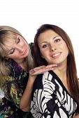 picture of friendship belt  - one girl show on mouth another one isolated - JPG