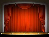 pic of curtains stage  - Empty stage with red curtain in expectation of performance - JPG