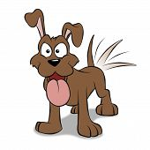 stock photo of happy dog  - A happy cartoon puppy wagging his tail - JPG