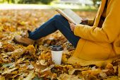 Woman In Yellow Coat, Jeans And Boots Sitting Under The Maple Tree With A Red Book And Cup Of Coffee poster