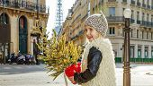 Smiling Girl With Christmas Tree In Paris, France Crossing Road poster
