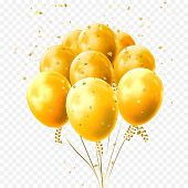 Yellow Balloons Golden Stars Confetti Vector Birthday Party Festival Icon poster