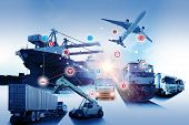 Global Business Of Container Cargo Freight Train For Business Logistics Concept, Air Cargo Trucking, poster