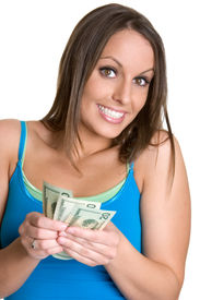 pic of holding money  - Lovely young white female teenager holding money - JPG