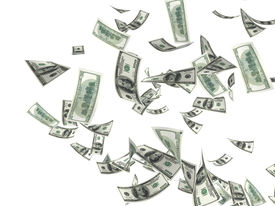 picture of save money  - 3d money falling in the white background - JPG