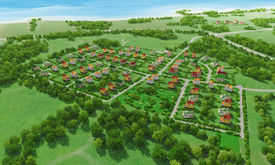 foto of farm landscape  - Small green village from above - JPG