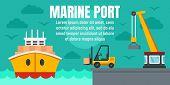 Marine Port Cargo Ship Concept Banner. Flat Illustration Of Marine Port Cargo Ship Vector Concept Ba poster