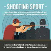 Shooting Indoor Sport Concept Banner. Flat Illustration Of Shooting Indoor Sport Vector Concept Bann poster