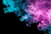 Frozen Abstract Movement Of  Explosion Smoke Multiple Blue And Pink Colors On Black Background. Back poster