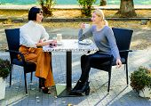 Trust Her. Girls Friends Drink Coffee And Enjoy Talk. True Friendship Friendly Close Relations. Conv poster