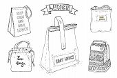 Lunch Bag And Lunch Box Set. Hand Drawn Artistic Illustration. Vector Clip Art Collection poster